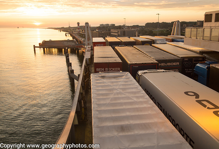 Lorries on Stena Lines ferry, Port of Rotterdam, Hook of Holland, Netherlands