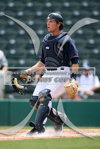 April 13, 2009:  Catcher Danny Lehmann of the Fort Myers Miracle, Florida State League Class-A affiliate of the Minnesota Twins, during a game at Hammond Stadium in Fort Myers, FL.  Photo by:  Mike Janes/Four Seam Images