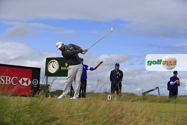 Branden GRACE (RSA) tees off during Sunday's Round 3 of the 144th Open Championship, St Andrews Old Course, St Andrews, Fife, Scotland. 19/07/2015.<br /> Picture Eoin Clarke, www.golffile.ie