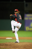 Batavia Muckdogs relief pitcher Jeremy Ovalle (31) delivers a pitch during a game against the Mahoning Valley Scrappers on August 18, 2017 at Dwyer Stadium in Batavia, New York.  Mahoning Valley defeated Batavia 8-2.  (Mike Janes/Four Seam Images)