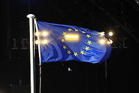 The European flag flying high during the Opening Ceremony of the Solheim Cup 2019 at Gleneagles Golf CLub, Auchterarder, Perthshire, Scotland. 12/09/2019.<br /> Picture Thos Caffrey / Golffile.ie<br /> <br /> All photo usage must carry mandatory copyright credit (© Golffile | Thos Caffrey)