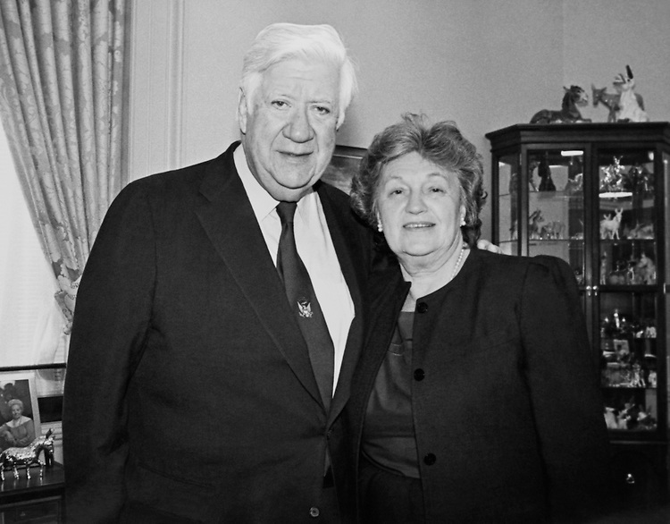 "Portrait of Speaker of the House, Rep. Thomas Phillip ""Tip"" O'Neill, House Majority Leader standing with Mildred Anne Mille, his wife. (Photo by CQ Roll Call)"
