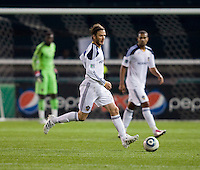 David Beckham (23) of the LA Galaxy brings the ball up the field during the game at RFK Stadium.  D.C. United tied the LA Galaxy, 1-1.