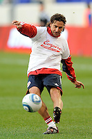 New York Red Bulls goalkeeper coach Des McAleenan warms up goalkeepers prior to a Major League Soccer match between the New York Red Bulls and the Chicago Fire at Red Bull Arena in Harrison, NJ, on March 27, 2010. The Red Bulls defeated the Fire 1-0.