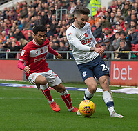 Preston North End's Sean Maguire (right)  under pressure from  Bristol City's Jay Dasilva (left)<br /> <br /> Photographer David Horton/CameraSport<br /> <br /> The EFL Sky Bet Championship - Bristol City v Preston North End - Saturday 10th November 2018 - Ashton Gate Stadium - Bristol<br /> <br /> World Copyright &copy; 2018 CameraSport. All rights reserved. 43 Linden Ave. Countesthorpe. Leicester. England. LE8 5PG - Tel: +44 (0) 116 277 4147 - admin@camerasport.com - www.camerasport.com