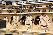 Quinn Smith (BC - 27), Michael Sit (BC - 18), Danny Linell (BC - 10) - The Boston College Eagles were based in the Tampa Bay Lightning dressing room for the tournament after earning the number 1 seed. The Boston College Eagles defeated the Ferris State University Bulldogs 4-1 (EN) in the 2012 Frozen Four final to win the national championship on Saturday, April 7, 2012, at the Tampa Bay Times Forum in Tampa, Florida.