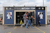 LEEDS, ENGLAND - AUGUST 31: Leeds United supporters walk past the matchday store prior to the Sky Bet Championship match between Leeds United and Swansea City at Elland Road on August 31, 2019 in Leeds, England. (Photo by Athena Pictures/Getty Images)