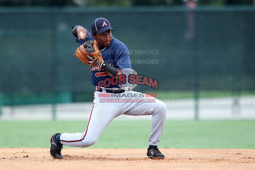 GCL Braves shortstop Ronald Luna #13 during a game against the GCL Pirates at Disney Wide World of Sports on June 25, 2011 in Kissimmee, Florida.  The Pirates defeated the Braves 5-4 in ten innings.  (Mike Janes/Four Seam Images)
