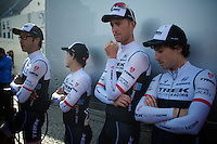 Trek Factory Racing Team waiting to get on stage at the morning team presentation on the start podium<br /> <br /> 50th Amstel Gold Race 2015