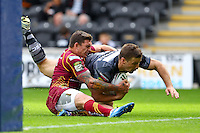 PICTURE BY ALEX WHITEHEAD/SWPIX.COM - Rugby League - Super League - Hull FC v Huddersfield Giants - KC Stadium, Hull, England - 01/07/12 - Hull's Kirk Yeaman scores a try.