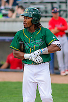 Beloit Snappers outfielder JaVon Shelby (5) at bat during a Midwest League game against the Peoria Chiefs on April 15, 2017 at Pohlman Field in Beloit, Wisconsin.  Beloit defeated Peoria 12-0. (Brad Krause/Four Seam Images)