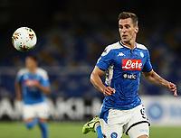 19th July 2020; Stadio San Paolo, Naples, Campania, Italy; Serie A Football, Napoli versus Udinese; Arkadiusz Milik of Napoli chases the through ball