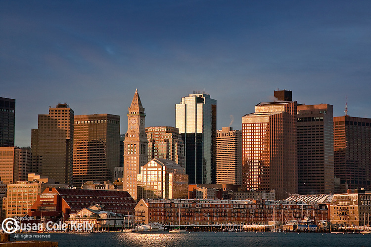 The Boston Harbor skyline at sunrise, Boston, MA, USA