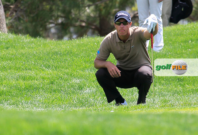 Nicolas Colsaerts (BEL) lines up his chip on the 5th green during Sunday's Final Round of the Open de Espana at Real Club de Golf de Sevilla, Seville, Spain, 6th May 2012 (Photo Eoin Clarke/www.golffile.ie)