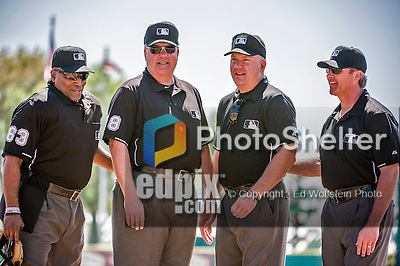 11 March 2014: The Umpires for a Spring Training game between the New York Yankees and the Washington Nationals (left to right) are: Laz Diaz, Gary Cederstrom, Jeff Nelson, and Paul Nauert at Space Coast Stadium in Viera, Florida. The Nationals defeated the Yankees 3-2 in Grapefruit League play. Mandatory Credit: Ed Wolfstein Photo *** RAW (NEF) Image File Available ***