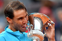 Rafael Nadal of Spain kisses the trophy at the end of the final match played against Novak Djokovic of Serbia. Rafael Nadal won 6-0, 4-6, 6-1 <br /> Roma 19/05/2019 Foro Italico  <br /> Internazionali BNL D'Italia Italian Open <br /> Photo Andrea Staccioli / Insidefoto