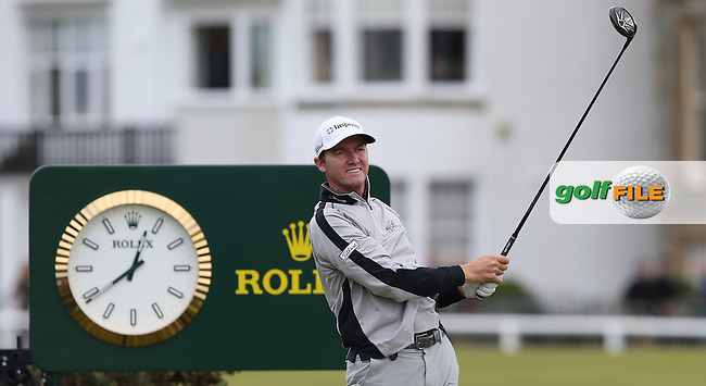 Jimmy Walker (USA) drives from the 2nd tee during Round Two of the 144th Open, played at the Old Course, St Andrews, Scotland. /17/07/2015/. Picture: Golffile | David Lloyd<br /> <br /> All photos usage must carry mandatory copyright credit (&copy; Golffile | David Lloyd)