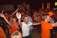 14-sept.-2013,Netherlands, Groningen,  Martini Plaza, Tennis, DavisCup Netherlands-Austria, ,  Dutch Team celebration with students , captain Jan Siemerink, in polonaise <br /> Photo: Henk Koster