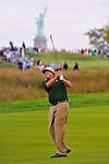 29 August 2009: Steve Marino hits an approach shot during the third round of The Barclays PGA Playoffs at Liberty National Golf Course in Jersey City, New Jersey.