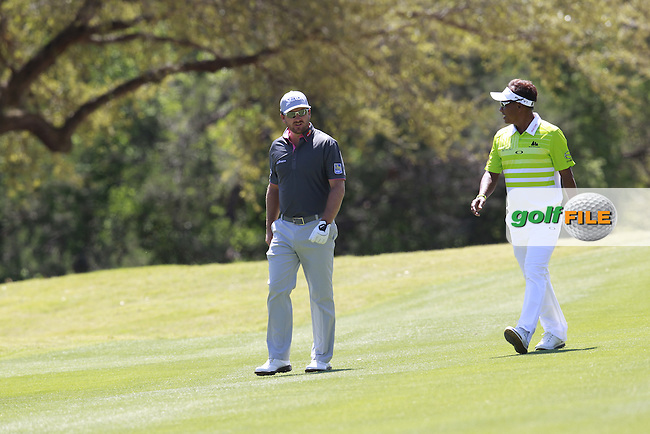 Graeme McDowell (NIR) and Thongchai Jaidee (THI) on the 6th during round 3 of the WGC Dell Matchplay championship, austin Country club, Austin, Texas, USA. 25/03/2016.<br /> Picture: Golffile   Fran Caffrey<br /> <br /> <br /> All photo usage must carry mandatory copyright credit (&copy; Golffile   Fran Caffrey)