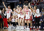 SIOUX FALLS, SD - MARCH 7: The South Dakota Coyotes bench celebrates a score late in the second half against the Omaha Mavericks at the 2020 Summit League Basketball Championship in Sioux Falls, SD. (Photo by Richard Carlson/Inertia)