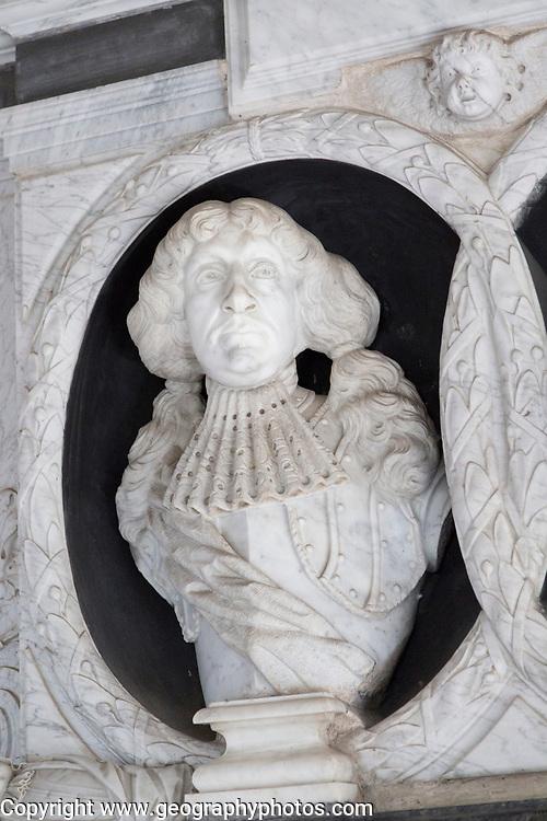 Early 18th century marble wall memorial monument  Sir Edmund Barker, church of Saint Peter, Sibton, Suffolk, England, UK