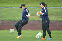 Piscataway, NJ, May 13, 2016. Sky Blue goalkeeper coaches, Jillian Loyden and Maria Dorris, warm up the keepers prior to their match with the Boston Breakers. Sky Blue FC defeated the Boston Breakers, 1-0, in a National Women's Soccer League (NWSL) match at Yurcak Field.
