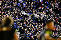 Bath supporters in the crowd hold up 'Try' banners in celebration. European Rugby Champions Cup match, between Bath Rugby and Leinster Rugby on November 21, 2015 at the Recreation Ground in Bath, England. Photo by: Rogan Thomson / JMP for Onside Images