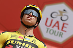 Dylan Groenewegen (NED) Team Jumbo-Visma at sign on before Stage 4 the Emirates NBD Stage of the UAE Tour 2020 running 173km from Dubai Zabeel Park to Dubai City Walk, Dubai. 26th February 2020.<br /> Picture: LaPresse/Fabio Ferrari | Cyclefile<br /> <br /> All photos usage must carry mandatory copyright credit (© Cyclefile | LaPresse/Fabio Ferrari)