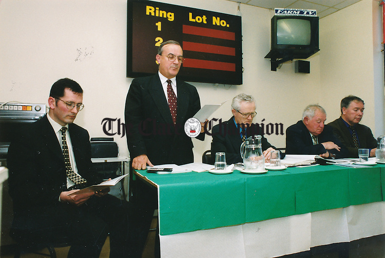 From left: Michael O'Laoide, accountant; Norman O'Leary, auditor; Donal Ryan, Clare Marts member; John Blake, chairman and Maurice Colbert, ICOS LTd, pictured at Clare Marts' annual general meeting (AGM) in Ennis - May 21, 1999.