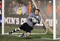 New Mexico goalkeeper Mike Graczyk makes a save. The University of New Mexico Lobos defeated the Clemson University Tigers 2-1 in a Men's College Cup Semifinal at SAS Stadium in Cary, NC, Friday, December 9, 2005.
