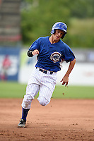 Domenic DeRenzo (16) of Central Catholic High School in Pittsburgh, Pennsylvania playing for the Chicago Cubs scout team during the East Coast Pro Showcase on August 2, 2014 at NBT Bank Stadium in Syracuse, New York.  (Mike Janes/Four Seam Images)