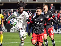 WASHINGTON, DC - FEBRUARY 29: Lalas Abubakar #6 of the Colorado Rapids and Junior Moreno #5 of DC United go after a loose ball during a game between Colorado Rapids and D.C. United at Audi Field on February 29, 2020 in Washington, DC.