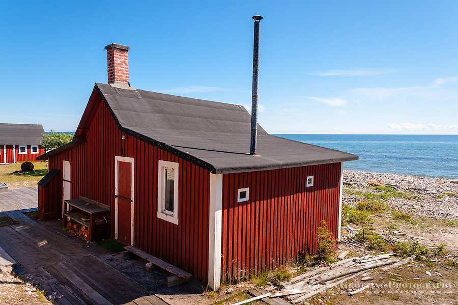 Sweden, Gotska Sandön national park. Nymans stugor at Sankt Anna.