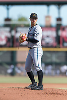 Salt River Rafters starting pitcher Jordan Yamamoto (20), of the Miami Marlins organization, gets ready to deliver a pitch during the Arizona Fall League Championship Game against the Peoria Javelinas at Scottsdale Stadium on November 17, 2018 in Scottsdale, Arizona. (Zachary Lucy/Four Seam Images)