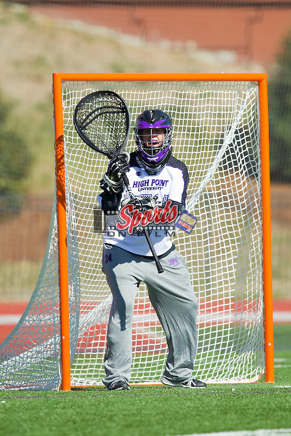 Anna Wallingford (24) of the High Point Panthers during second half action against the Florida Gators at Vert Track, Soccer & Lacrosse Stadium on February 17, 2013 in High Point, North Carolina.  The Gators defeated the Panthers 13-7.   (Brian Westerholt/Sports On Film)
