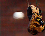 A baseball in mid air just before it goes into a catcher's mit behind home plate.