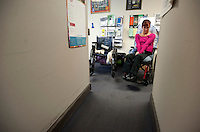 Healthcare advocate Kara Vander Veer at Arise, where she works to help people with disabilities obtain healthcare and make the transition to independant living. Photo by James R. Evans©