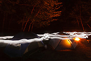 Tents in campground in the White Mountains of New Hampshire.
