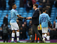 26th January 2020; Etihad Stadium, Manchester, Lancashire, England; English FA Cup Football, Manchester City versus Fulham; Gabriel Jesus of Manchester City shakes hands with Fulham manager Scott Parker after the final whistle