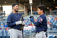 San Antonio Missions Jose Rondon (13) and Luis Urias (3) before a game against the Tulsa Drillers on June 1, 2017 at ONEOK Field in Tulsa, Oklahoma.  Tulsa defeated San Antonio 5-4 in eleven innings.  (Mike Janes/Four Seam Images)