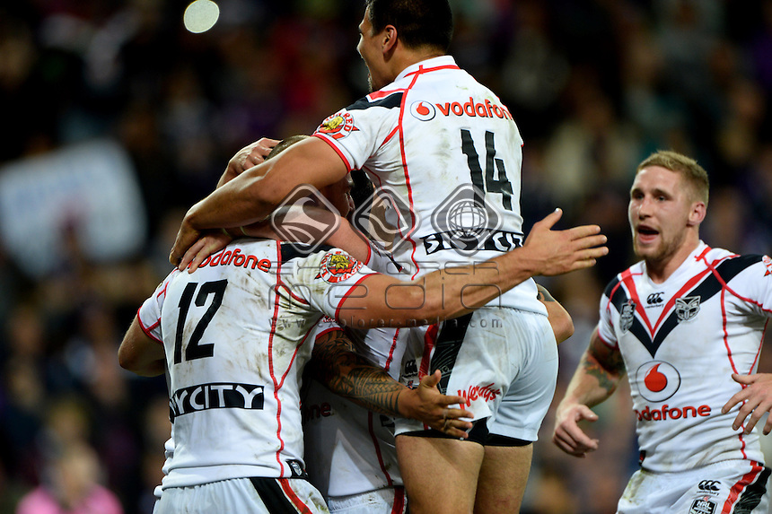 Feleti Mateo  (NZ) <br /> NZ Warriors vs Melbourne Storm<br /> ANZAC day clash - AAMI Park<br /> Rugby League - 2014 NRL <br /> Melbourne AUS Friday 25 April  2014<br /> &copy; Sport the library / Jeff Crow