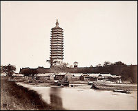 BNPS.co.uk (01202 558833)<br /> Pic: FeliceBeato/BNPS<br /> <br /> ****Please use full byline****<br /> <br /> Pagoda near Tungchan.<br /> <br /> Some of the very first photographs of China that showed the western world what the Far East looked like are tipped to sell for &pound;70,000.<br /> <br /> The photos were shot by renowned photographer Felice Beato who travelled with the British Army during the Indian Rebellion and the Second Opium War in China.<br /> <br /> He captured the Imperial Summer Palace in Beijing before it was destroyed by fire by Empire forces.<br /> <br /> His snaps also include a folding panorama view of Hong Kong harbour, the Forbidden City in Peking, a pagoda and grim images of slain Chinese soldiers at a fort.