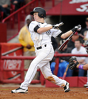 Outfielder Tanner English (3) of the South Carolina Gamecocks in a game against the Clemson Tigers on March 3, 2012, at Carolina Stadium in Columbia, South Carolina. South Carolina won, 9-6. (Tom Priddy/Four Seam Images)