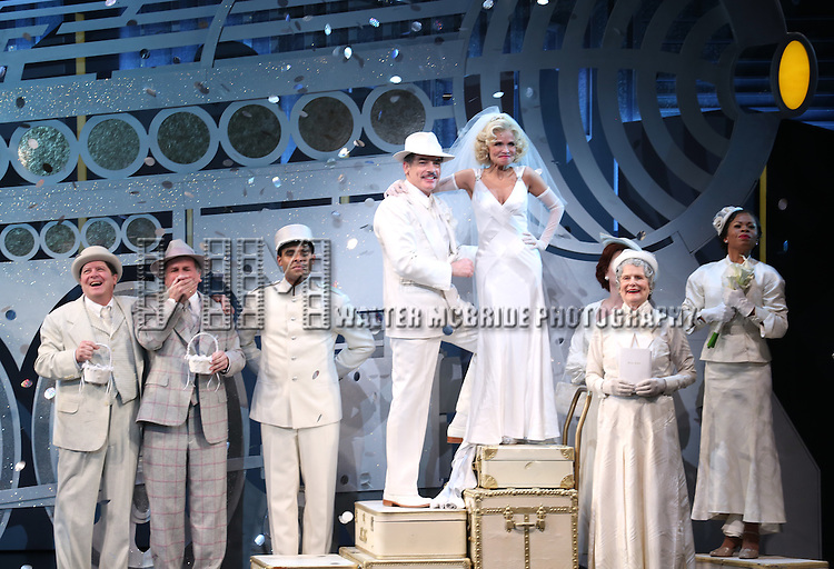 Michael McGrath, Mark Linn-Baker, Peter Gallagher, Kristin Chenoweth, Mary Louise Wilson and the cast during the Opening Night Performance Curtain Call for 'On The 20th Century' at the American Airlines Theatre on March 12, 2015 in New York City.