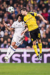 Marcelo Vieira Da Silva of Real Madrid fights for the ball with Christian Pulistic of Borussia Dortmund during the 2016-17 UEFA Champions League match between Real Madrid and Borussia Dortmund at the Santiago Bernabeu Stadium on 07 December 2016 in Madrid, Spain. Photo by Diego Gonzalez Souto / Power Sport Images