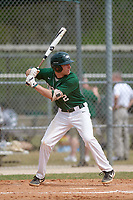 Babson Beavers first baseman Matthew Valente (2) during a game against the Edgewood Eagles on March 18, 2019 at Lee County Player Development Complex in Fort Myers, Florida.  Babson defeated Edgewood 23-7.  (Mike Janes/Four Seam Images)