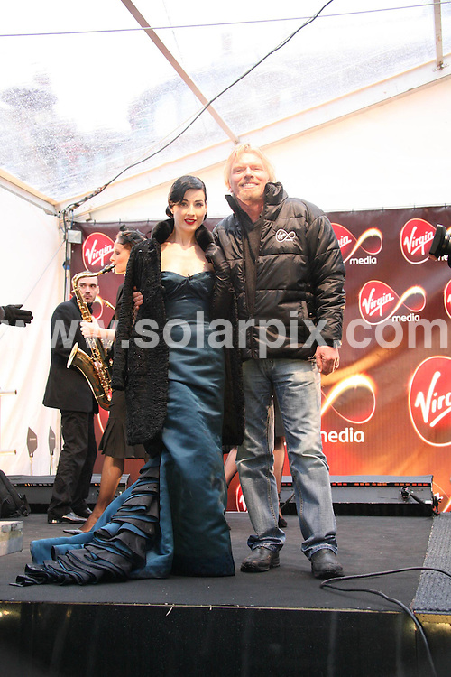 **ALL ROUND PICTURES FROM SOLARPIX.COM**.**WORLDWIDE SYNDICATION RIGHTS**..Dita Von Teese and Richard Branson at the Virgin Media Launch in Covent Garden, London on 08.02.07...JOB REF:      3329 SSD     DATE: 08.02.07.**MUST CREDIT SOLARPIX.COM OR DOUBLE FEE WILL BE CHARGED**