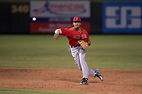 AZL Angels shortstop Jeremiah Jackson (8) makes a throw to first base during an Arizona League game against the AZL Padres 2 at Tempe Diablo Stadium on July 18, 2018 in Tempe, Arizona. The AZL Padres 2 defeated the AZL Angels 8-1. (Zachary Lucy/Four Seam Images)