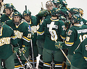 Vermont's huddle around their net breaks up - The Boston College Eagles completed a shutout sweep of the University of Vermont Catamounts on Saturday, January 21, 2006 by defeating Vermont 3-0 at Conte Forum in Chestnut Hill, MA.